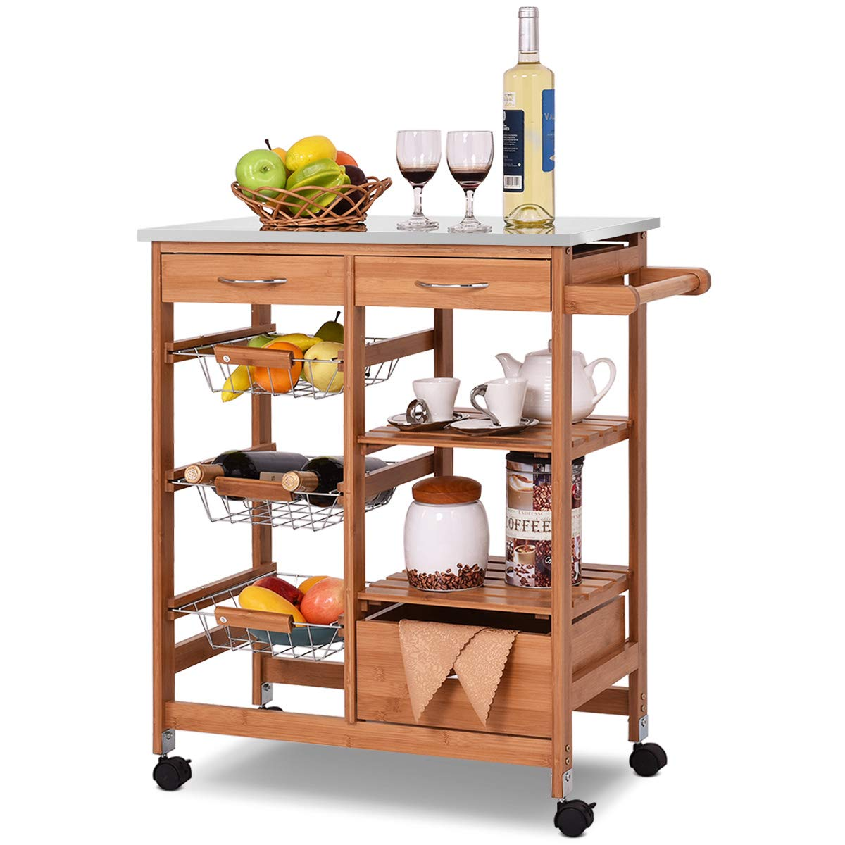 Giantex Kitchen Cart Rolling Island Cart Bamboo Trolley w/Stainless Steel Top, Storage Shelves, 3 Drawers, 3 Baskets, Towel Rack and Locking Wheels