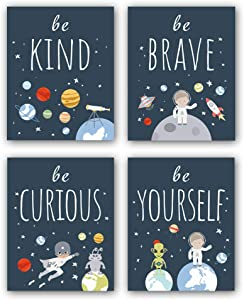 "Unframed Inspirational Art Print, Outer Space Planet Wall Art Painting,Set of 4(8"" x10"" ) Be Kind Be Brave Be Curious Be Yourself Quote Canvas Posters for Boys Bedroom Nursery Decor"