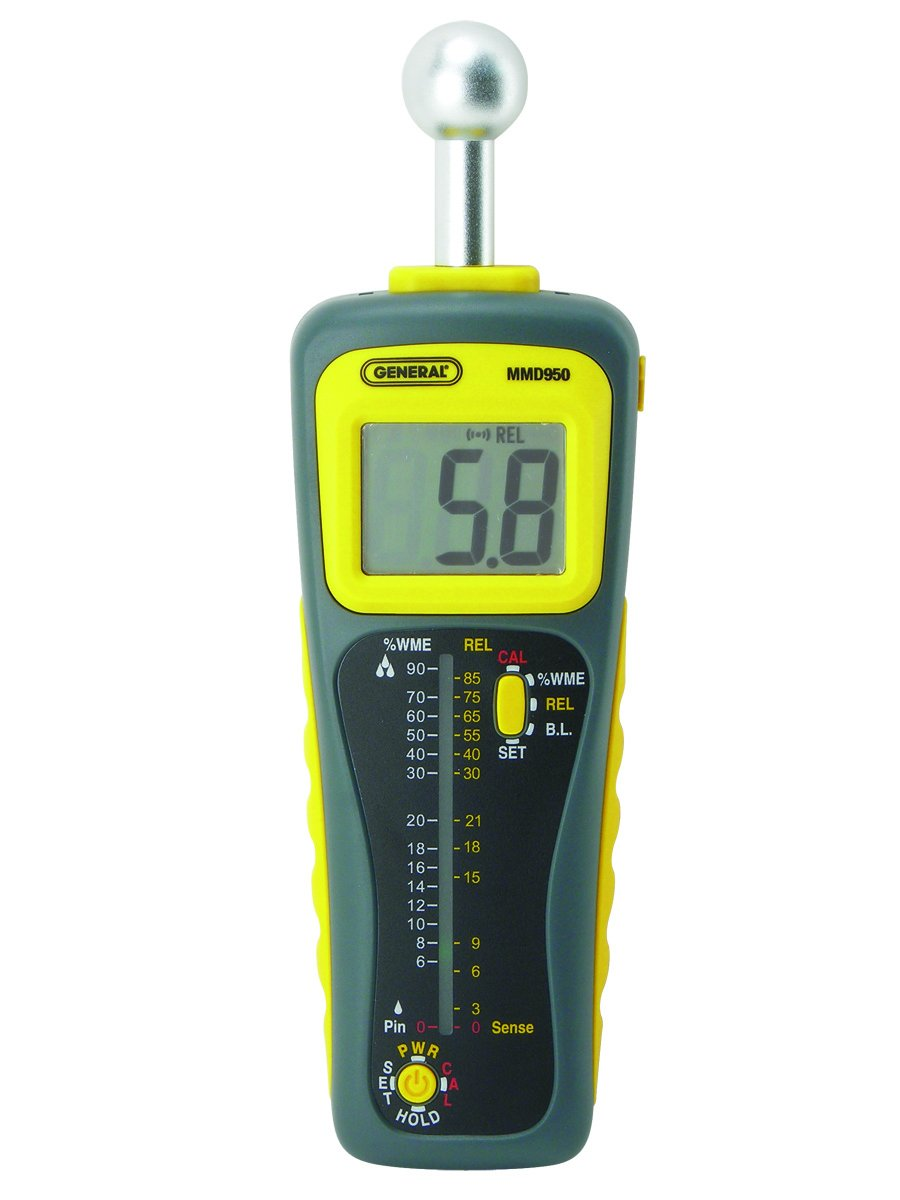 General Tools MMD950 Moisture Meter, Pin Type or Pinless, Deep Sensing with Sensor and Remote Probe by General Tools