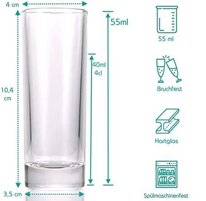 STAR - LINE - Vasos de chupito (12 Unidades, 4 Cl, Vidrio ...