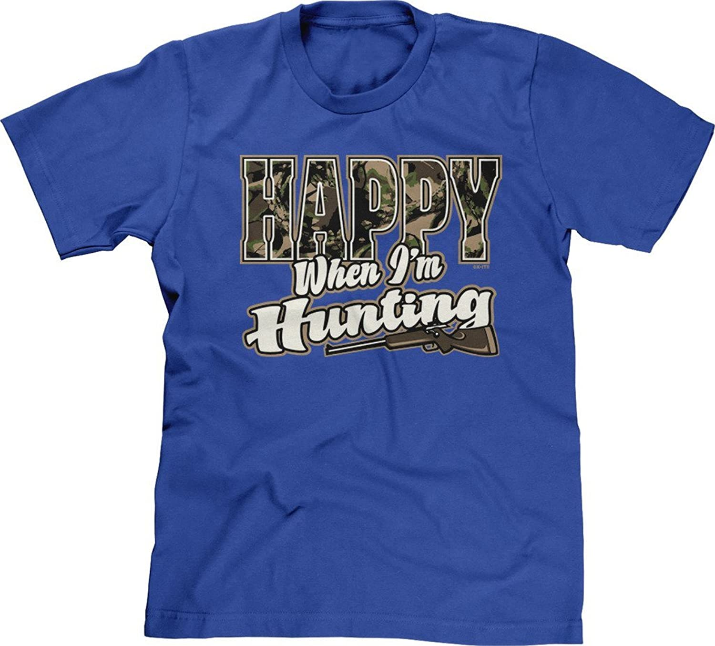 Blittzen Mens T-shirt Happy When I鈥檓 Hunting