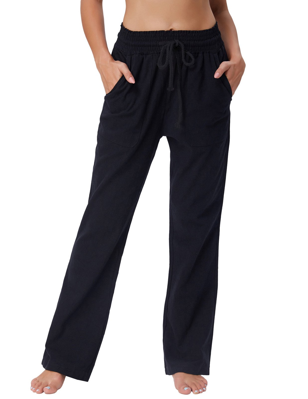 Women's Ease in to Comfort Fit Pants Straight Bootcut Pants Trouser Black XL