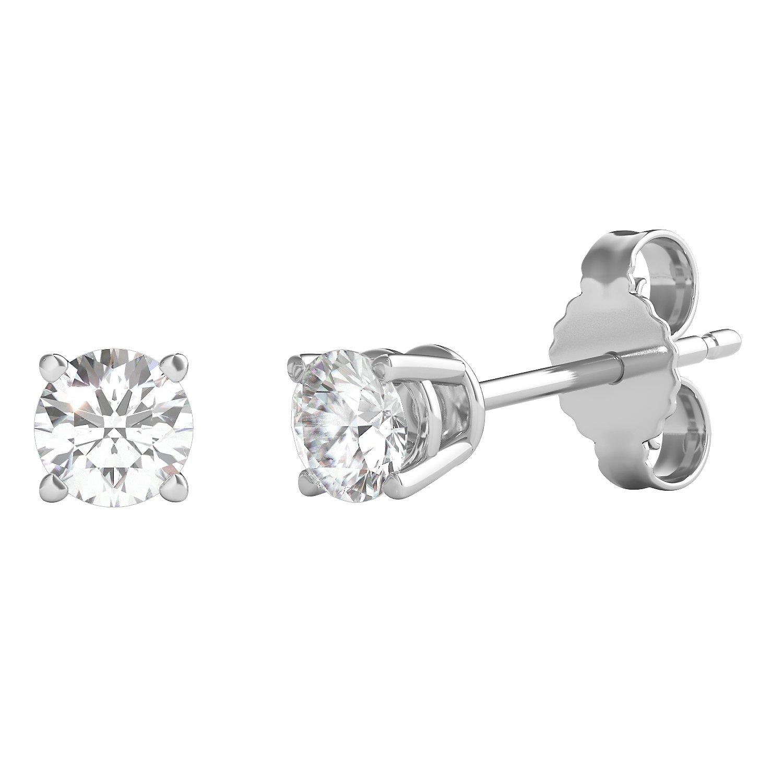 Helzberg Diamonds 14K White Gold 1/4 cttw Round Brilliant-Cut Diamond (H-I Color, I2 Clarity) 4-Prong Stud Earrings