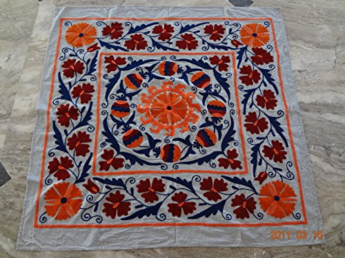Embroidered Tapestry Fabric Wall Hanging (Handicraftofpinkcity Suzani Embroidered Tapestry Suzani Embroidered Wall Hanging Suzani Embroidered Table Runner 44x44'' Tapestry Throw Ssth05)