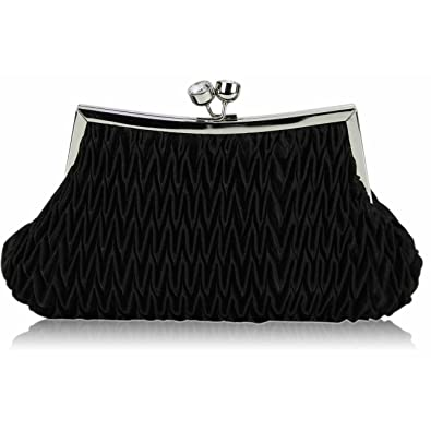 50990ff9c90b LeahWard Women s Bridal s Clutch Bags Purse For Prom Wedding Cocktail Party  93 (BLACK TWIST LOCK