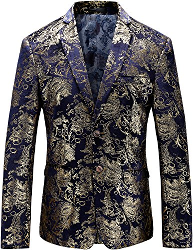 Men's Fashion Glitter Floral Print Suit Slim Fit Blazer Jacket, Blue Gold, L/42 = Tag 58