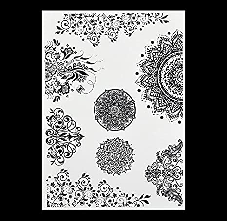 aeb2993af Buy Mini Mandala Flower Tattoo Behind The Ear, The Popular Black Henna  Tattoos Temporary Inspired Body Tattoos Stickers Online at Low Prices in  India ...