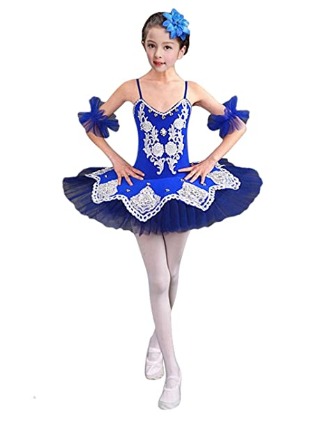Gyratedream Girls Ballet Leotard with Skirt Sequins Princess Tutu Dress Dance Costumes Gymnastic Leotards for 3-14 Years Kids