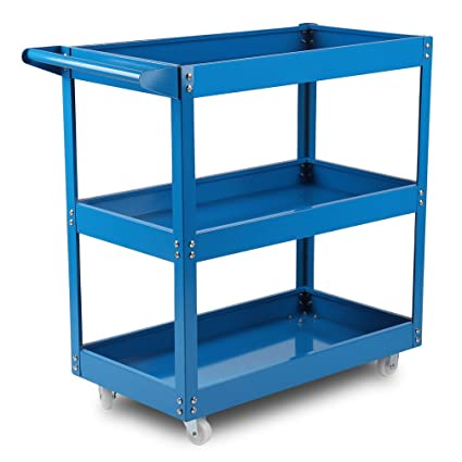 Taller carro carro de herramientas con ruedas (3 pisos), color azul de outad