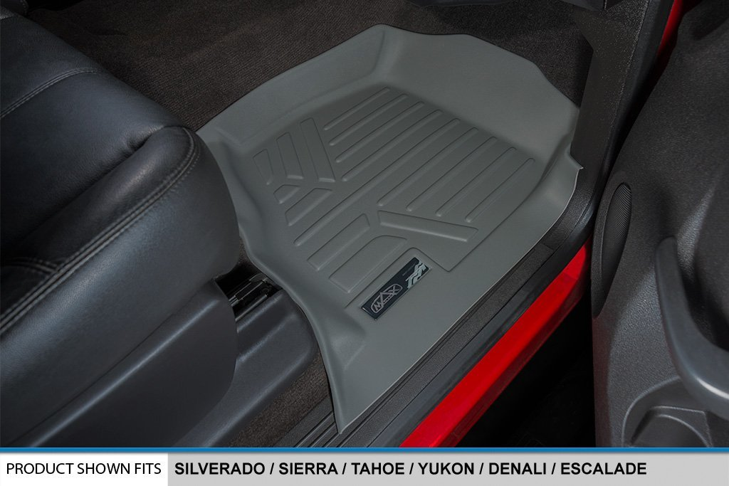 SMARTLINER Floor Mats 2 Row Liner Set Grey for 2007-2013 Silverado//Sierra 1500 Crew Cab 2007-2014 2500//3500 HD Crew Cab MAXLINER A2015//B2020