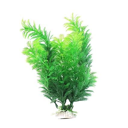 Plástico Verde Planta Artificial Decoración para Acuario Pecera Estanque Nuevo