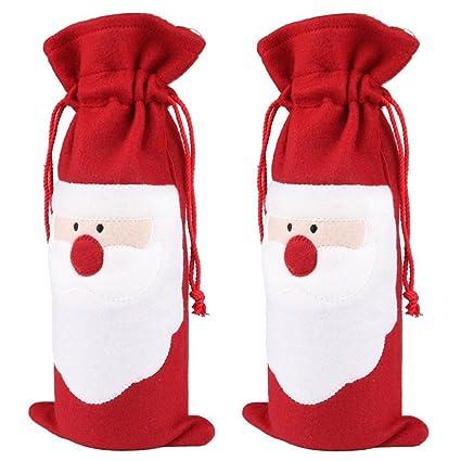 UEETEK 2pcs Navidad Santa vino botella bolsa con cordón regalo bolsa plástico para decoración de fiesta