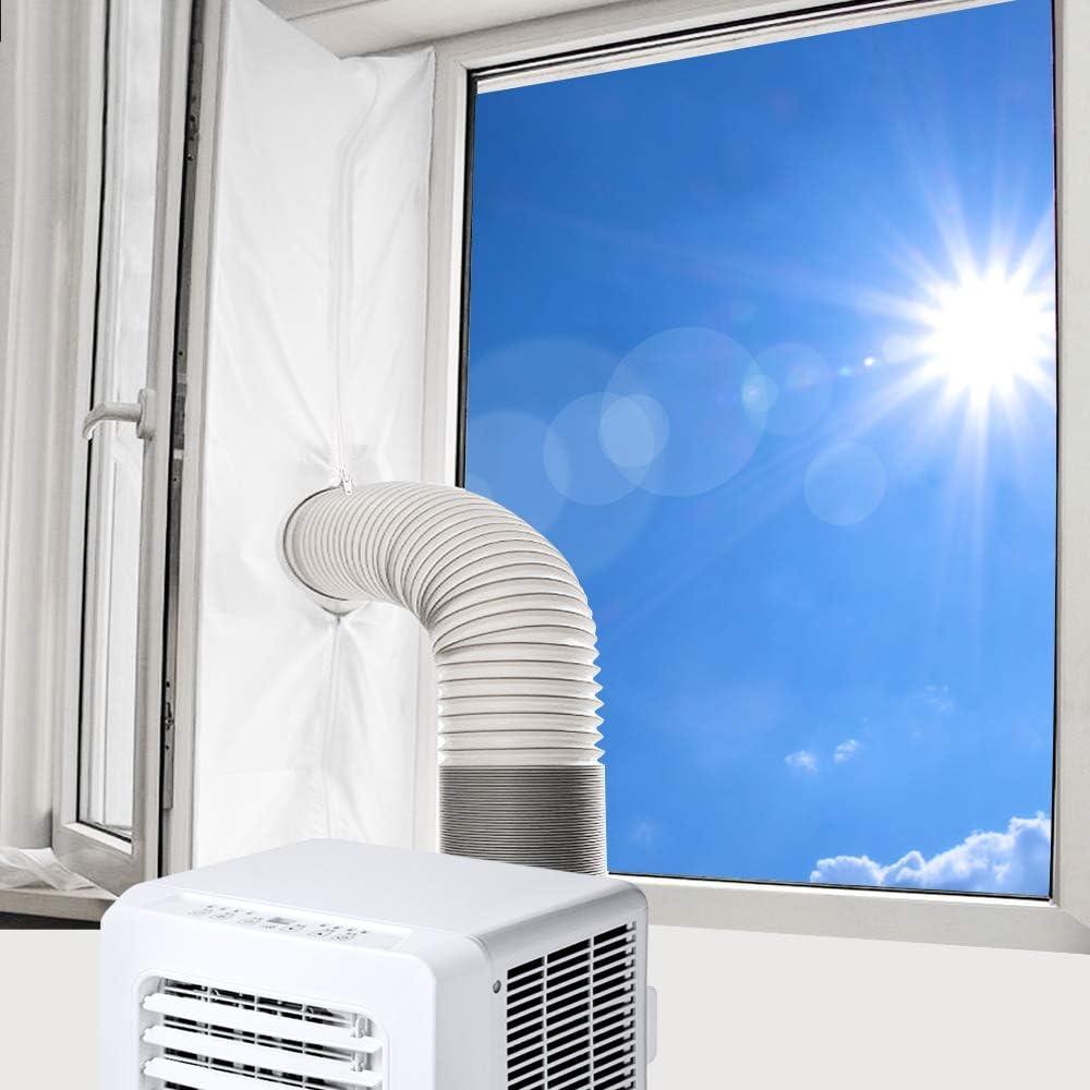 Fensterabdichtung f/ür Mobile Klimager/ät Abluft-W/äschetrockner 400cm Fensterabdichtung Klimaanlage Hot Air Stop zum Anbringen an Fenster Dachfenster Fl/ügelfenster