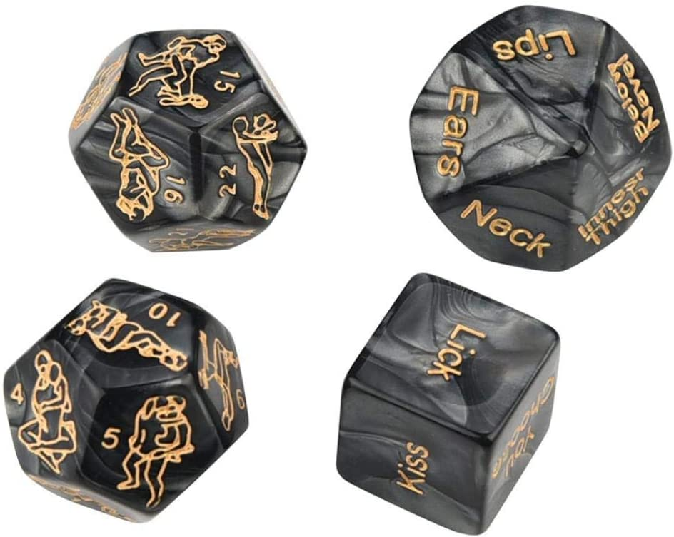 Honeymoon Bachelorette Party Anniversary Wedding Marriage Bridal Shower Newlyweds Him and Her Black 4pcs Romantic Novelty Game Dice Role Playing Funny Gift for Valentines Day Groom Roast