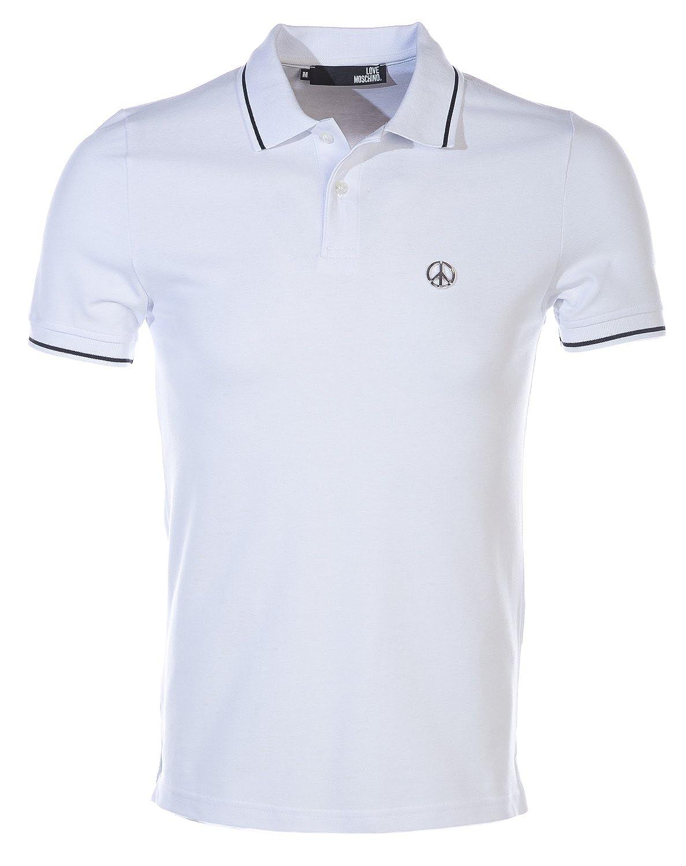 866210638 Moschino Love Moschino Peace Badge Polo Shirt in White XL  Amazon.co.uk   Clothing