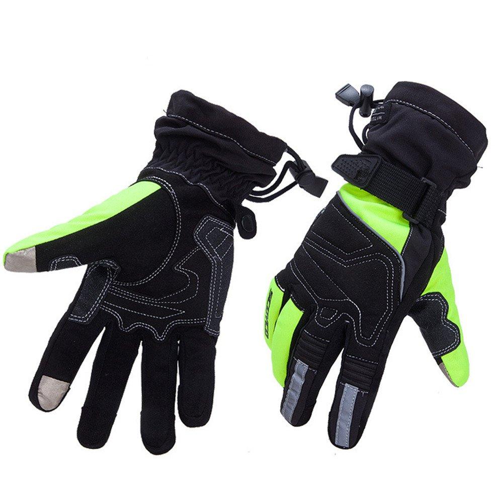 QARYYQ Motorrad Jagd Angeln Bergsteigen Wandern Wasserdichte Motorrad Handschuhe, Schwarz Grün Handschuh (größe   L)