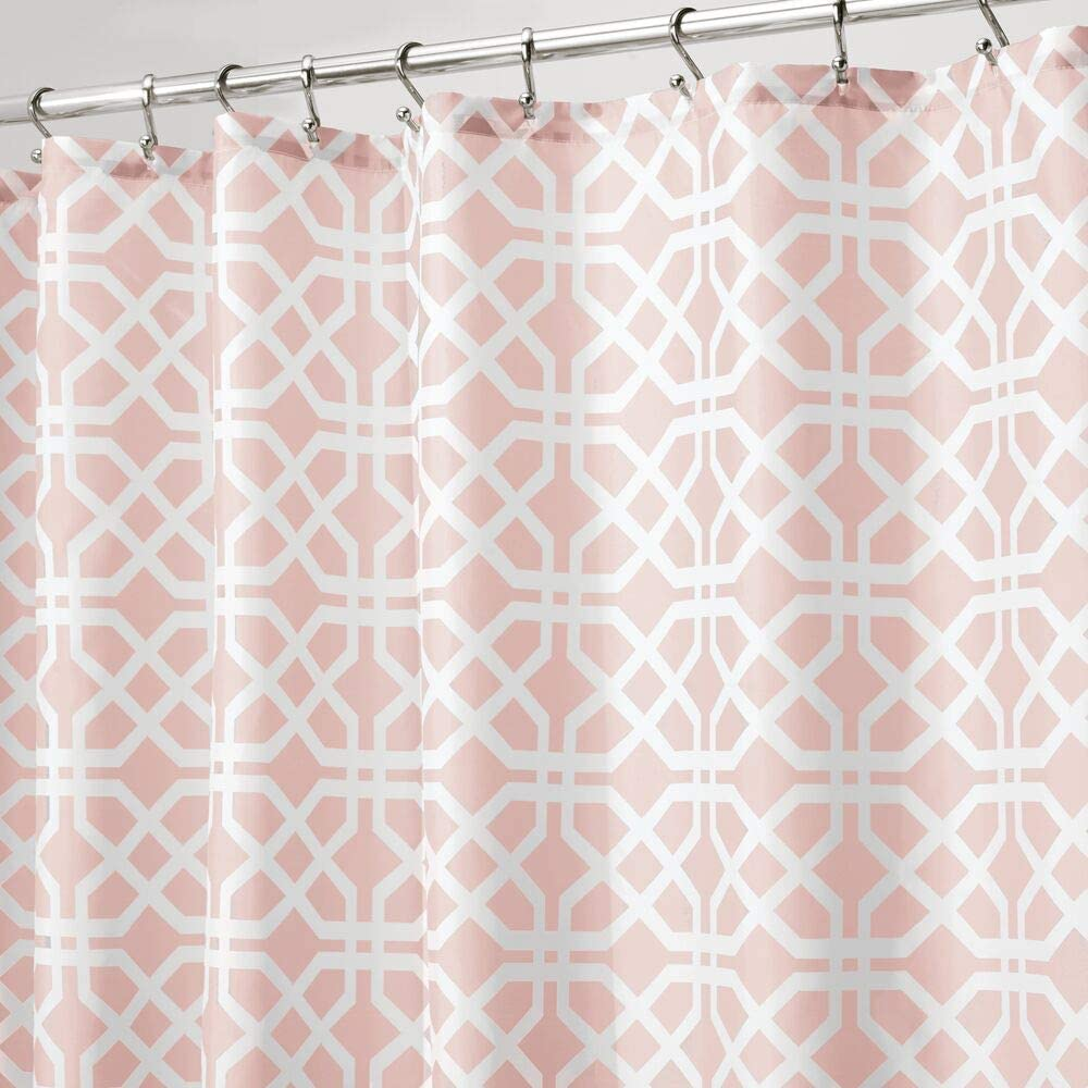 """mDesign Decorative Trellis Print Easy Care Fabric Shower Curtain with Reinforced Buttonholes, for Bathroom Showers, Stalls and Bathtubs, Machine Washable- 72"""" x 72"""" - Light Pink/White"""