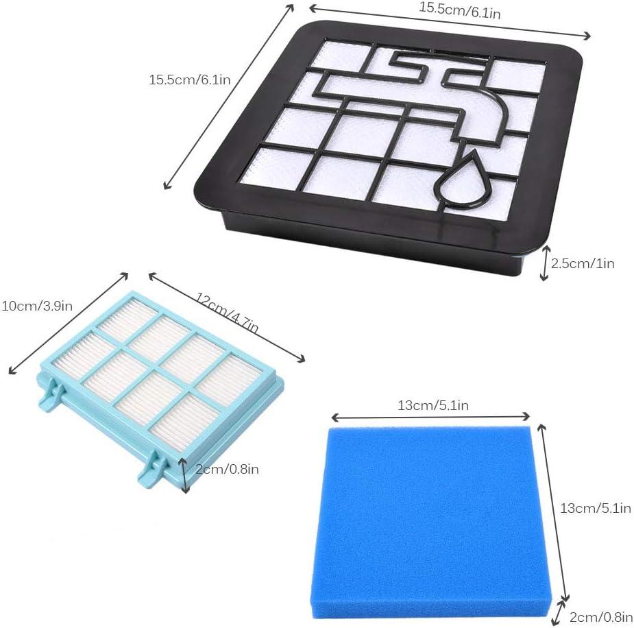 KEEPOW Kit de filtres de rechange pour aspirateur PowerPro Compact Philips FC8010 01 Pack de 3