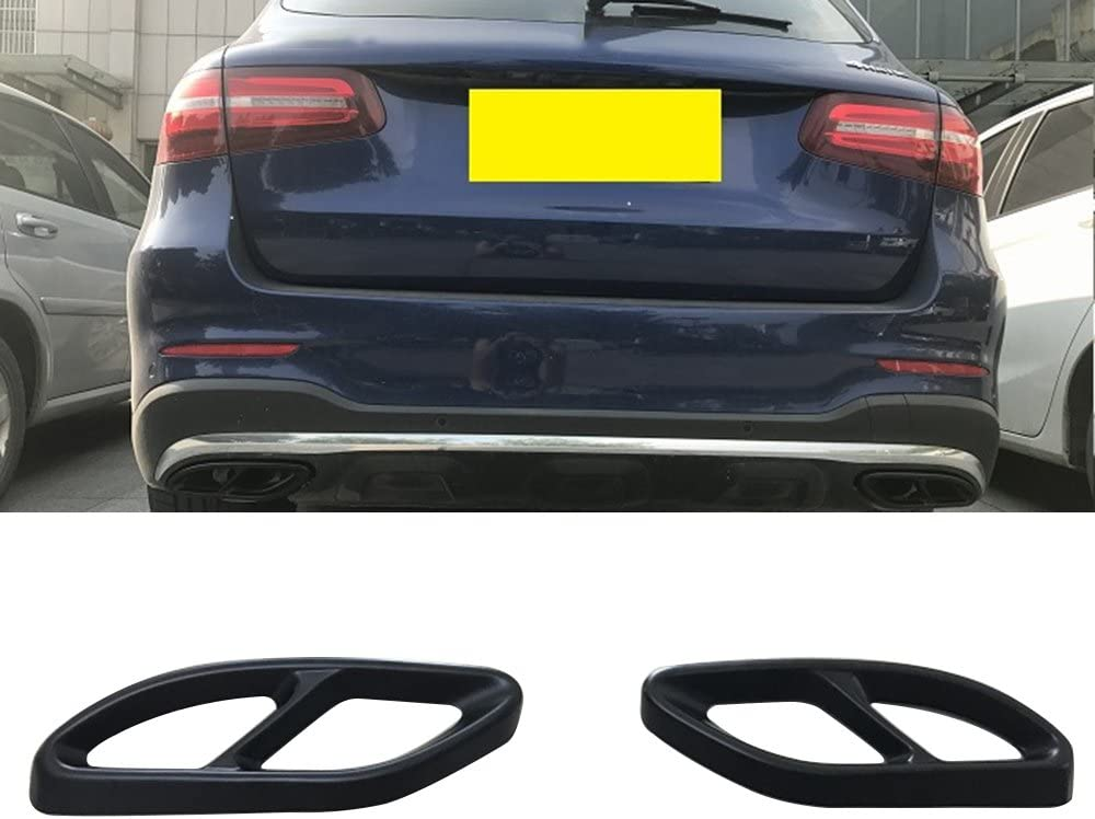 Stainless Steel Pipe Tail Throat Exhaust Black Cover Outputs Frame Cover for Mercedes Benz C-Class W205 Coupe,GLC B W246,E W213 Coupe A-Class GLE GLS CLA