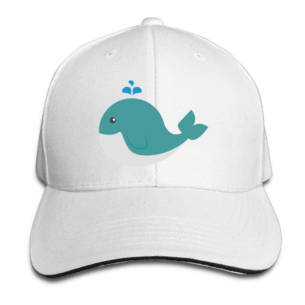 Unisex Cute Whale Funny Art Sandwich Peaked Cap Adjustable Cotton Baseball Caps