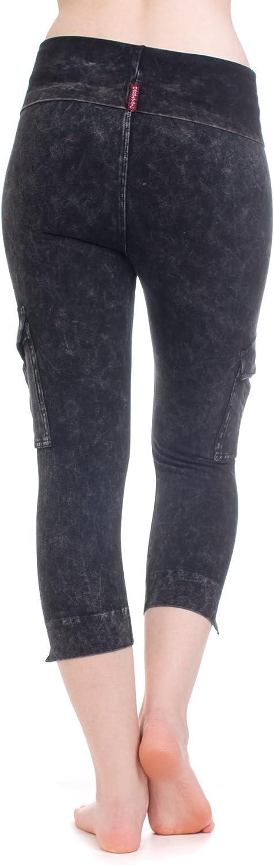 Hard Tail Rolldown Contour Cargo Crop Yoga Legging Charcoal Mineral wash