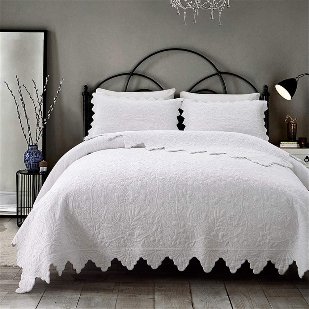WINLIFE White Bedspread Max 43% OFF Coverlets Quilted Embroidered Queen Set Max 60% OFF