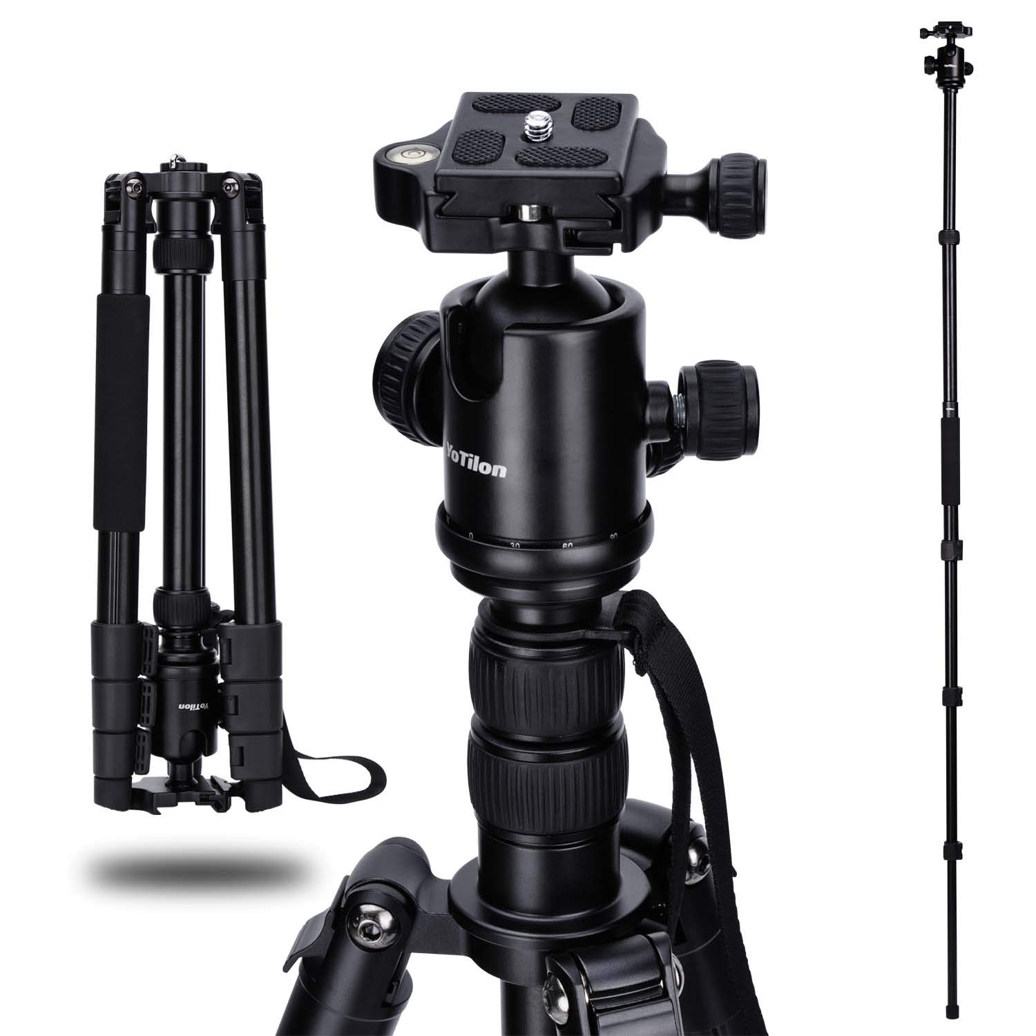 YoTilon Tripod for Camera, 64'' Aluminum Camera Tripod Monopod 360 Degree Ball Head with 1/4 Screw Fast Quick Release Plates for Canon Nikon Sony Samsung Olympus Panasonic & Pentax Travel Work