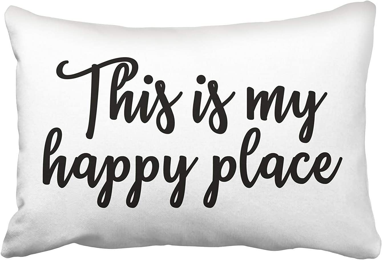 Amazon Com Mesllings This Is My Happy Place Pillow Cushions Case Throw Pillow Cover For Sofa Home Decorative Pillowslip Gift Ideas Household Pillowcase Zippered Pillow Covers 20x30inch Home Kitchen