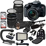Canon EOS Rebel T7i DSLR Camera Bundle with Canon EF-S 18-135mm f/3.5-5.6 IS STM Lens + Canon EF 75-300mm f/4-5.6 III Lens + 500mm f/8 Preset Lens + Accessory Kit
