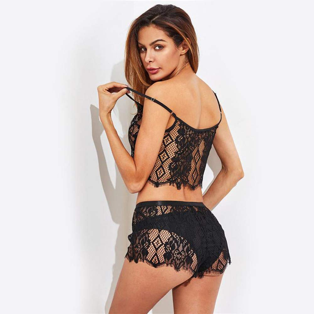 f9303553b Amazon.com  Women s Fishnet Floral Lace Sheer Sexy See Through Mesh Bras  Lingerie Babydoll Bra with Panty G-String Shorts  Clothing