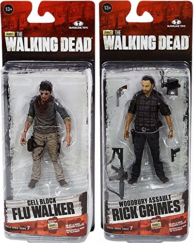 "McFarlane Toys The Walking Dead AMC TV Series Series 7.5 Set of Both 5"" Action Figures [Flu Zombie & Rick Grimes]"