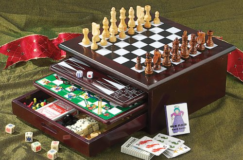 Board Game Set Wood accented Backgammon