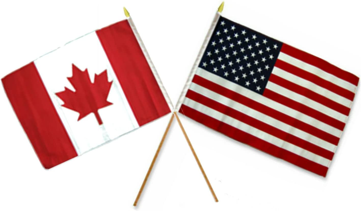 Aes Wholesale Combo Usa American Canada Canadian 12 X18 Stick Flags Garden Outdoor