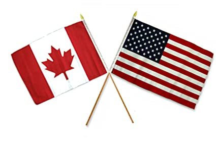 0b41d830f4e Image Unavailable. Image not available for. Color  AES Wholesale Combo USA  American   Canada Canadian 12 quot x18 quot  Stick Flags