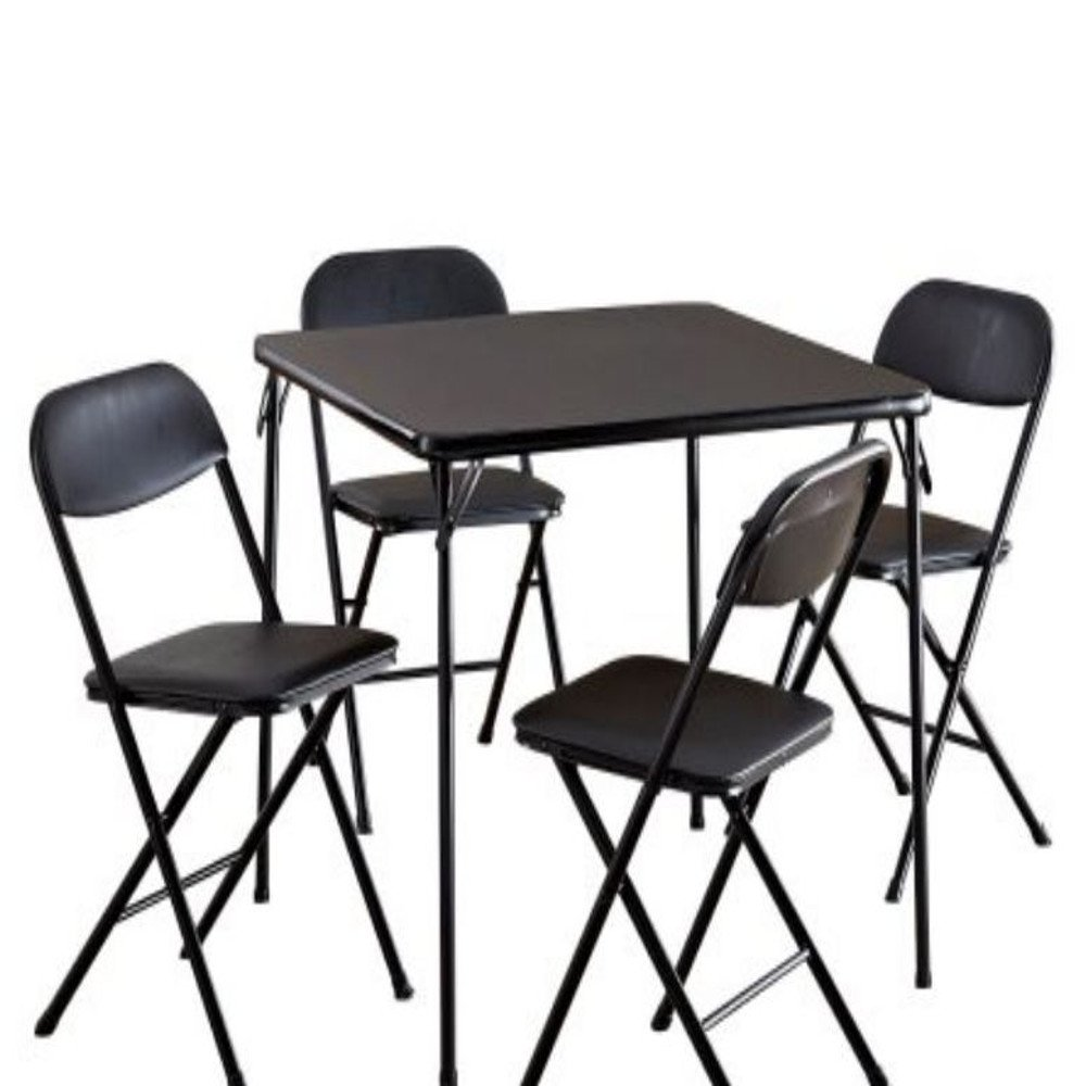 Card Table Chairs Set of Five Black Cards Setting Small Playing Vinyl Metal Frame Indoor Living Room Board Games Furniture Set & E Book by Easy2Find by GT