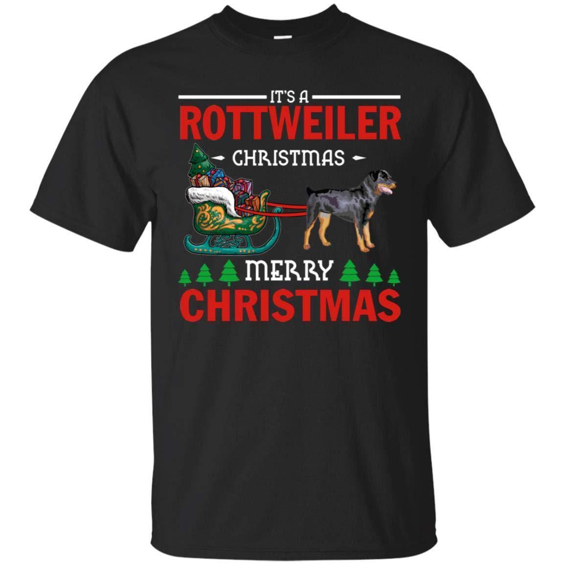 Merry Christmas Rottweiler Dog Lover Holiday Sweater Gift Shirt Unisex Tshirt 1912