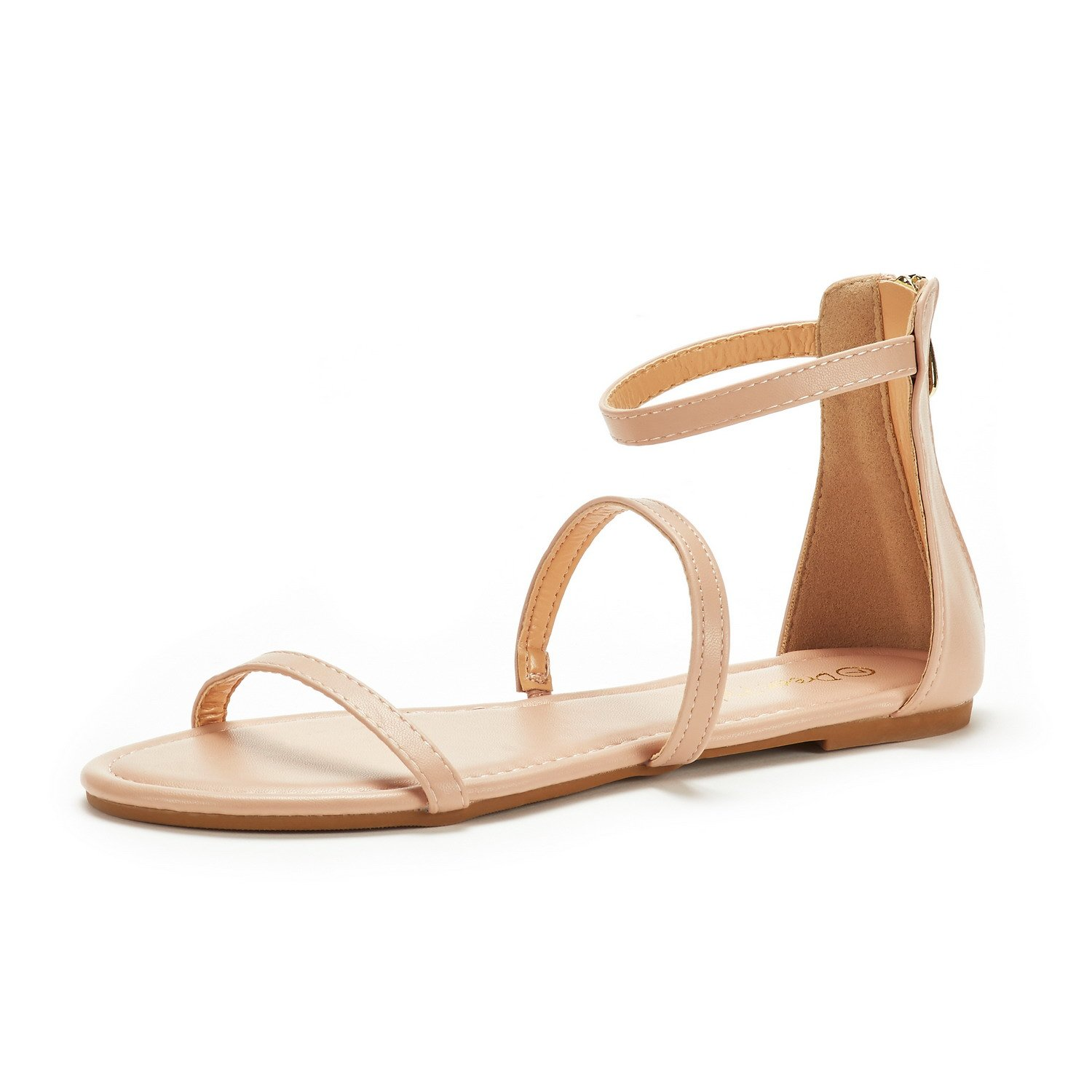 DREAM PAIRS Women's Athena_Low Nude Pu Fashion Gladiator Design Ankle Strap Flat Sandals Size 10 M US