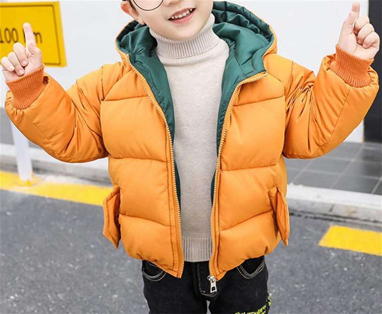 Joe Wenko Boy and Girl Quilted Winter Hooded Down Jacket Warm Cotton-Padded Parka Coat