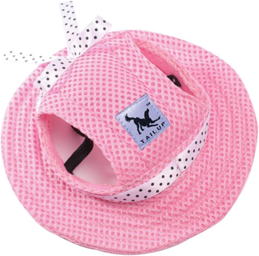 Mascota Perro del acoplamiento del casquillo sombrero de la princesa Con Cinturón Gorra con Los agujeros para los oídos para Los perros pequeños Mascota tocado (Rosado, S)