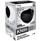 Best Trading 50 Cubrebocas KN95 Negro, Tapabocas de 5 Capas contra Partículas, Mascarilla Desechable (50 Piezas)