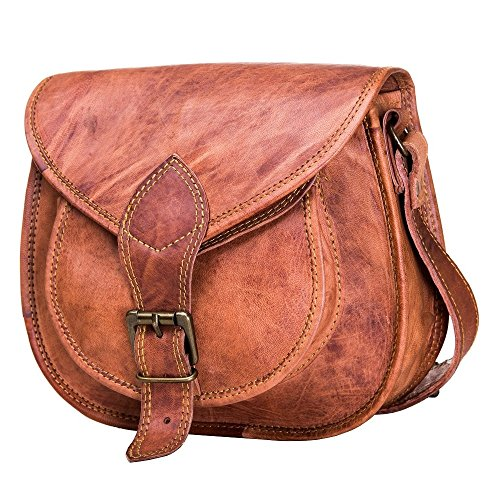 - Cross Body Saddle Bag Purse for Women Purses and Handbags Women's Crossbody Satchel Leather Sling Bags on Sale Woman Brown Tote Hand Bag With Natural Texture For Girls No Foul Smell Small Size 10""