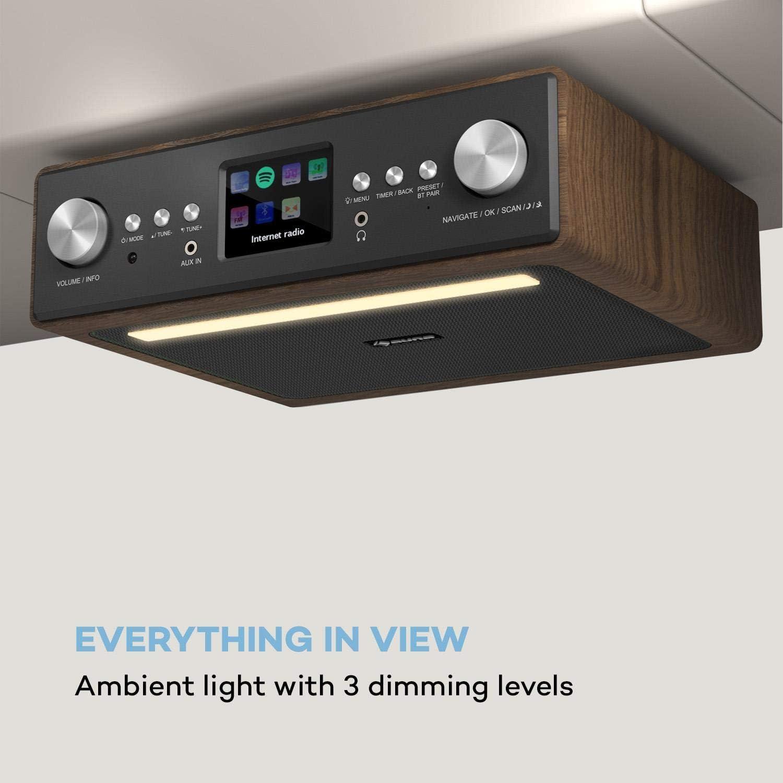 Bluetooth Entrada AUX Radio bajo Mueble con Internet//Dab+//FM auna Sound Ma/ître Altavoces est/éreo Radio de Cocina Luces LED Pantalla a Color TFT 2 x 1 W RMS programable Blanco Hueso