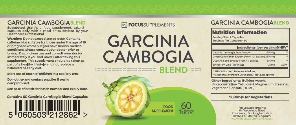 Garcinia Cambogia - AYUDA A ADELGAZAR - QUEMAGRASAS - Extracto Sinergético de Guaraná y Grano de Café Verde de Focus Supplements - 60 Capsulas (1 MES ...