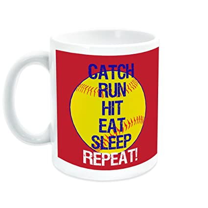455cdcade63 Image Unavailable. Image not available for. Color: Catch Run Hit Eat Sleep  Repeat Ceramic Mug | Softball Coffee ...