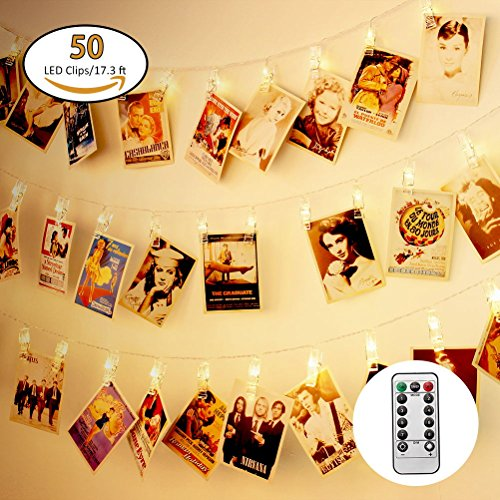 Jamal 50 LED Photo Clips String Lights Battery Powered with Remote 8 Modes Timer Halloween Outdoor Starry Light for Hanging Cards and Memos Ideal Gift Cool Decorations(Warm (College Halloween Photos)
