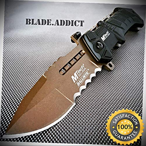 - M-Tech BALLISTIC ARMY Bronze Military Spring Assisted Open Pocket Knife - Outdoor For Camping Hunting