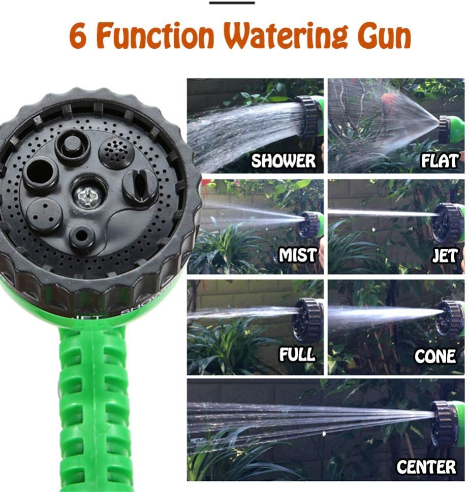 CLQya Expandable Garden Hose Pipe Strong Fabric & Flexible Double Latex Core Hose Pipe with 7 Function Watering Gun,for Cleaning Yards and Showering Pets,50FT 100ft