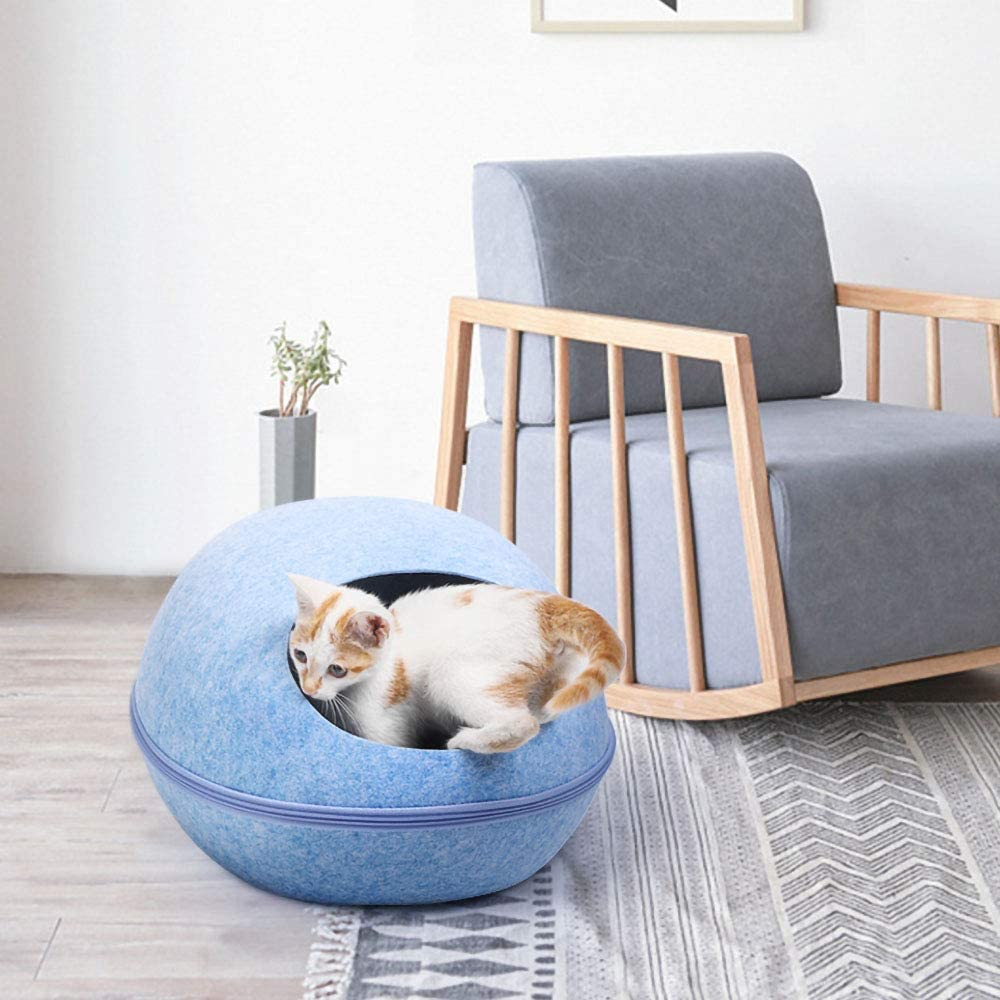Decdeal Cat Dog Cave Bed Tent House Pet Bed Self Warming Comfortable Cat Cave Bed with Zipper Design for Cats Kittens Small Dogs Pets
