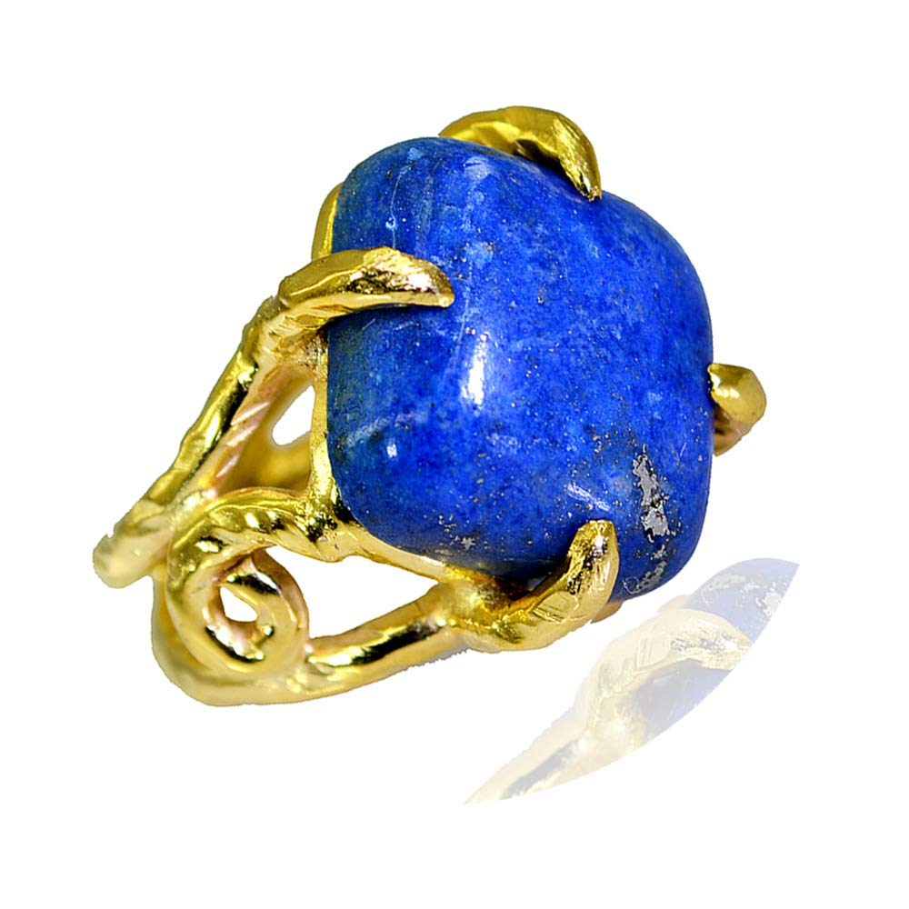 Jewelryonclick Cushion Natural Lapis Lazuli Gold Plated Rings for Her Prong Style Size 5,6,7,8,9,10,11,12
