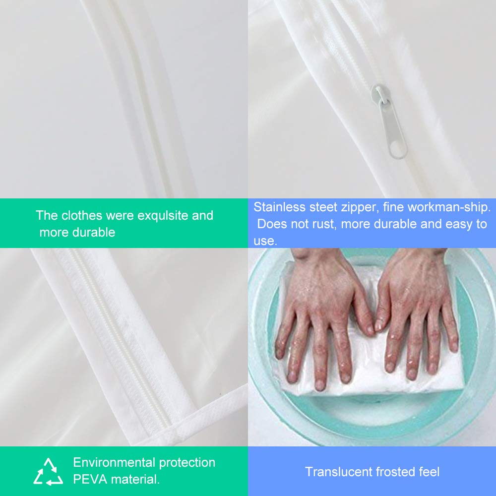 Houmagic Clear Garment Bag 24\'\' x 40\'\' Suit Bag Moth Proof Garment Bags White Breathable Full Zipper Dust Cover for Dress Suit Clothes Closet Pack of 6
